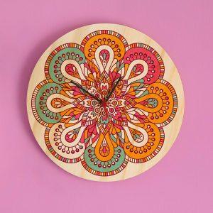 Reloj Mandala Rosa-Naranja