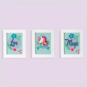 Set Cuadros Unicornios Are Real-Love-Magic