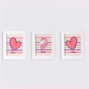 Set Cuadros Unicornio Corazón Cree y Ama