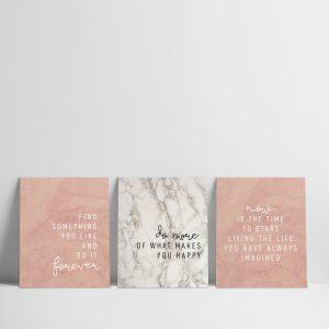 Set x 3 cuadros Frases y Mármol