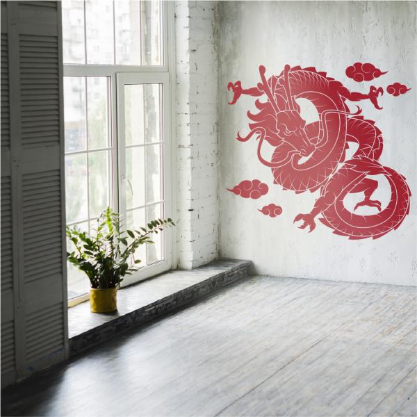 vinilo de pared decorativo dragon rojo