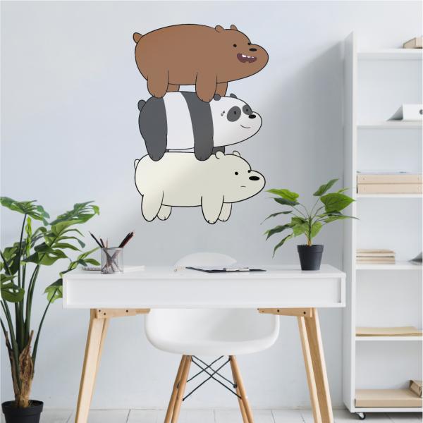 vinilo decorativo para paredes Panda, Polar y Pardo (We Bare Bears)