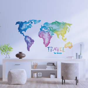 Vinilo decorativo travel acuarela