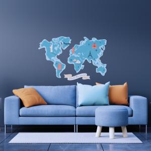 Vinilo decorativo mapamundi