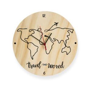 Reloj travel mapa en siluetas